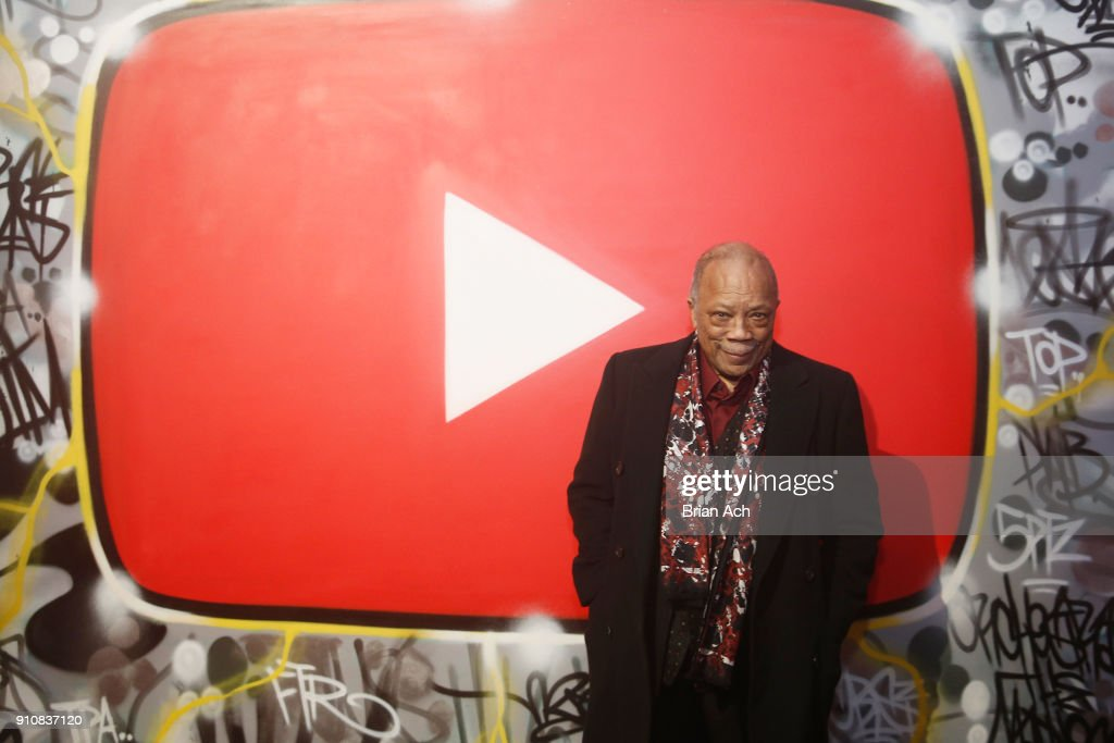 Quincy Jones attends YouTube brings the BOOM BAP BACK to New York City With Lyor Cohen, Nas, Grandmaster Flash, Q-Tip, Chuck D and Fab 5 Freddy on January 26, 2018 at Industria in New York City.