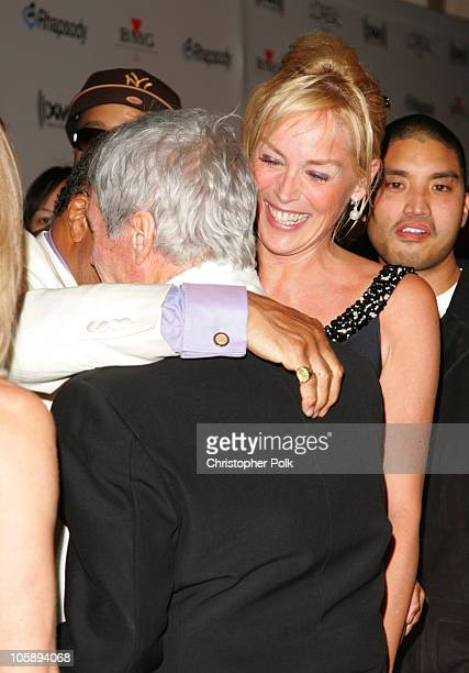 Quincy Jones Burt Bacharach and Sharon Stone during 2006 Clive Davis PreGRAMMY Awards Party Arrivals at Beverly Hilton Hotel in Beverly Hills...