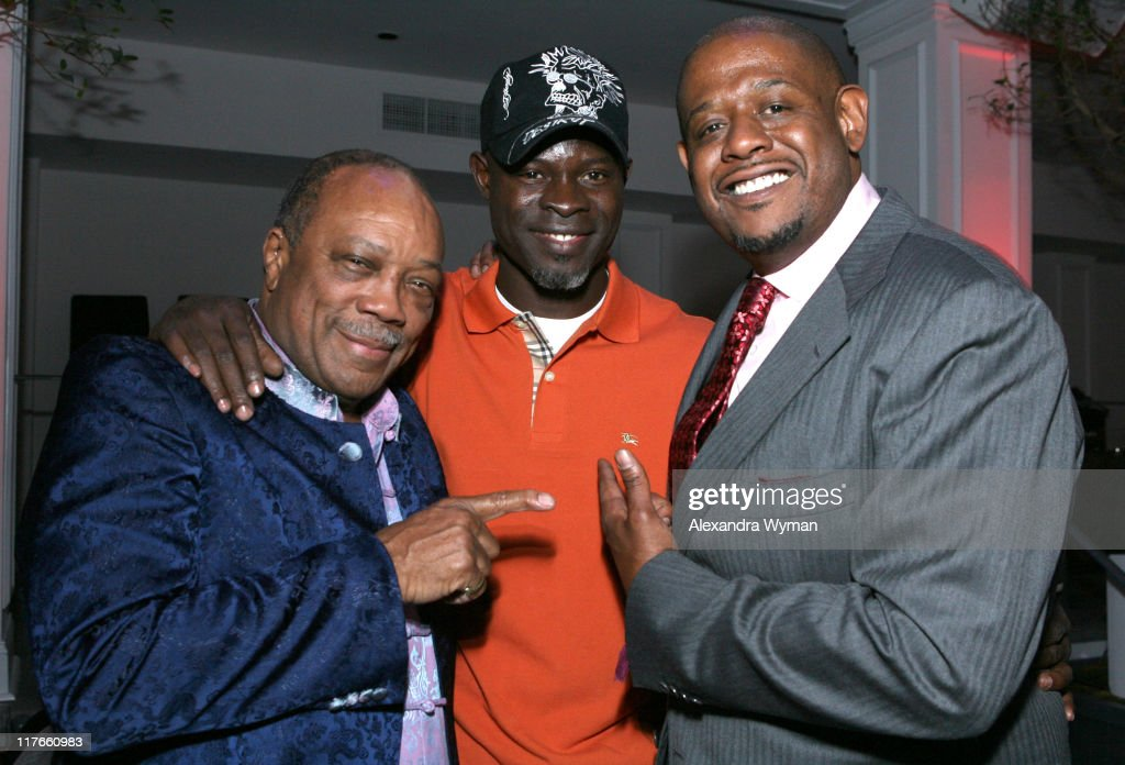 Quincy Jones, Djimon Hounsou and Forest Whitaker during Dom Perignon Celebration for Forest Whitaker - February 27, 2007 at Boulevard3 in Hollywood, California, United States.