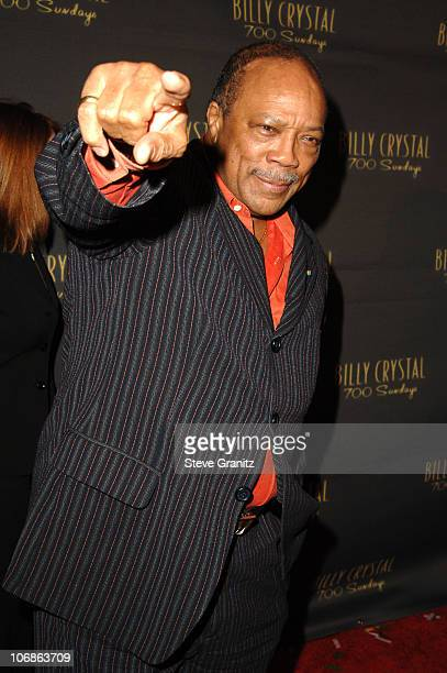 """Quincy Jones during Los Angeles Opening Night of The Tony Award Winning Broadway Show Billy Crystal """"700 Sundays"""" at Wilshire Theatre in Beverly..."""