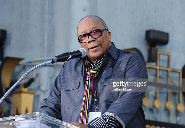 Quincy Jones during the Michael Jackson Hand And Footprint Ceremony at Grauman's Chinese Theatre on January 26 2012 in Hollywood California