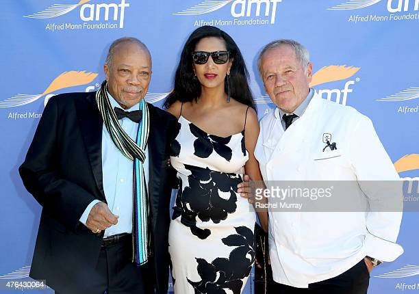 Quincy Jones Gelila Assefa and Wolfgang Puck attend Alfred Mann Foundation's an Evening Under The Stars with Andrea Bocelli on June 8 2015 in Los...