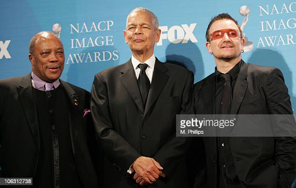 Quincy Jones, Julian Bond and Bono during 38th Annual NAACP Image Awards - Press Room at Shrine Auditorium in Los Angeles, California, United States.