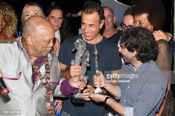 Quincy Jones Matteo Garrone and Marcello Fonte attend 2018 Ischia Global Film Music Fest on July 18 2018 in Ischia Italy