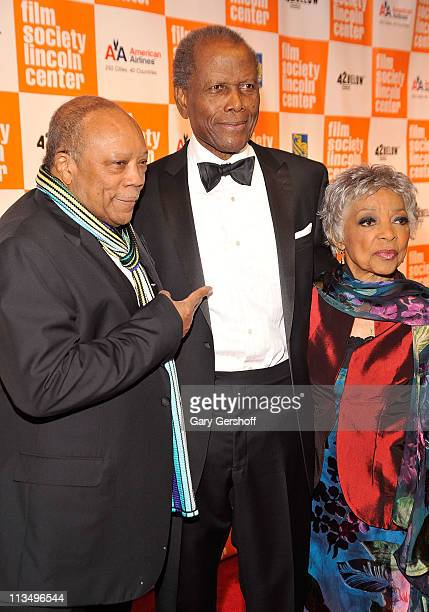 Quincy Jones Sidney Poitier and Ruby Dee attend The Film Society of Lincoln Center's presentation of the 38th Annual Chaplin Award at Alice Tully...