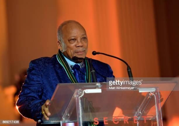 Quincy Jones speaks onstage at Spotify's Inaugural Secret Genius Awards hosted by Lizzo at Vibiana on November 1 2017 in Los Angeles California