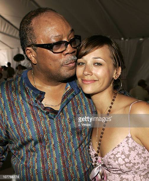 Quincy Jones with daughter Rashida Jones during The Coach Luncheon to Benefit Peace Games at the Home of Quincy Jones at Quincy Jones' House in...