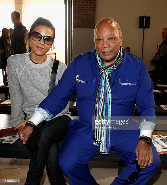 Quincy Jones with his daughter Kidada Jones attend the Missoni show as part of Milan Fashion Week Womenswear Spring/Summer 2014 at on September 22...