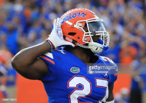 Quincy Lenton of the Florida Gators asks the crowd for noise during the game against the LSU Tigers at Ben Hill Griffin Stadium on October 6 2018 in...