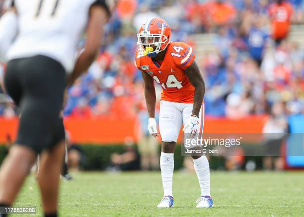 Quincy Lenton of the Florida Gators looks on during a game against the Towson Tigers at Ben Hill Griffin Stadium on September 28 2019 in Gainesville...