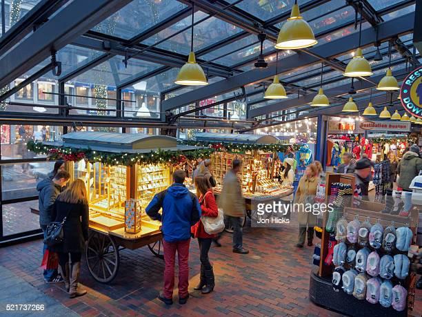 Quincy Market in Faneuil Hall Marketplace, Boston, Massachusetts.