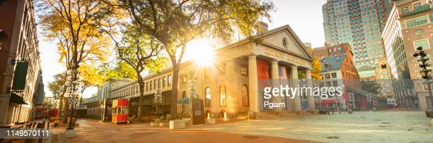 quincy market panorama along the freedom trail in boston usa - boston stock pictures, royalty-free photos & images