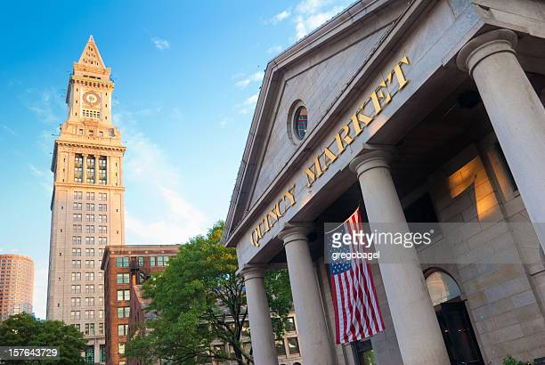 Quincy Market with Custom House Tower in Boston, MA