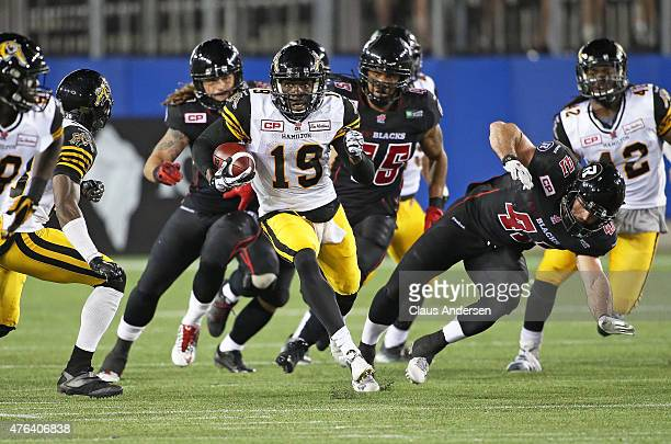 Quincy McDuffie of the Hamilton TigerCats breaks free on a big return against the Ottawa Redblacks during a preseason CFL football game at Tim...