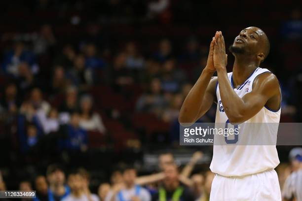 Quincy McKnight of the Seton Hall Pirates reacts after foul against the Xavier Musketeers during the first half of a game at Prudential Center on...