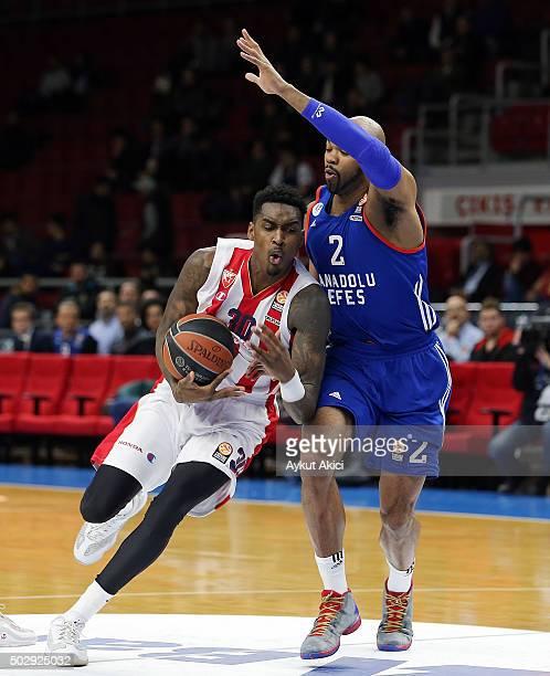Quincy Miller, #30 of Crvena Zvezda Telekom Belgrade in action during the Turkish Airlines Euroleague Basketball Top 16 Round 1 game between Anadolu...