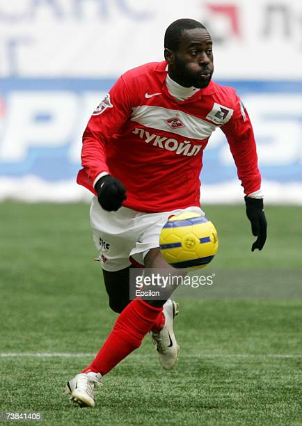 Quincy OwusuAbeyie of FC Spartak Moscow in action during the Russian Football League Championship match between Spartak Moscow and FC LuchEnergia on...