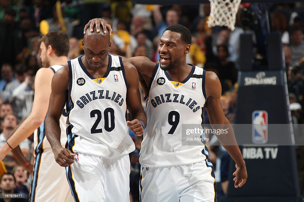 Quincy Pondexter #20 and Tony Allen #9 of the Memphis Grizzlies walk off the court during the game against the Los Angeles Clippers in Game Three of the Western Conference Quarterfinals during the 2013 NBA Playoffs on April 25, 2013 at FedExForum in Memphis, Tennessee.