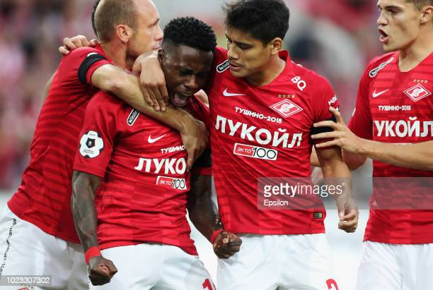 Quincy Promes and Lorenzo Melgarejo of FC Spartak Moscow celebrate a goal during the Russian Football League match between FC Spartak Moscow and FC...