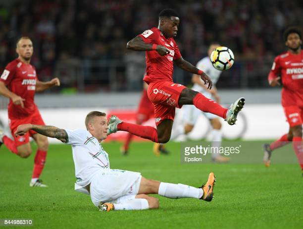 Quincy Promes FC Spartak Moscow vies for the ball with Ragnar Sigurdsson of FC Rubin Kazan during the Russian Premier League match between FC Spartak...