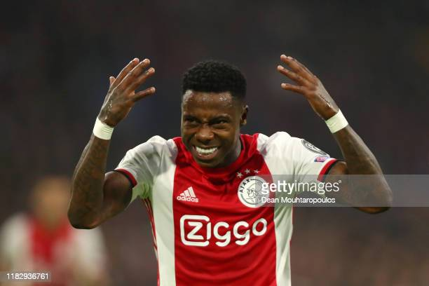 Quincy Promes of AFC Ajax reacts during the UEFA Champions League group H match between AFC Ajax and Chelsea FC at Amsterdam Arena on October 23 2019...