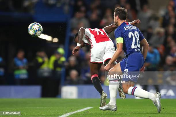 Quincy Promes of AFC Ajax scores his team's second goal during the UEFA Champions League group H match between Chelsea FC and AFC Ajax at Stamford...