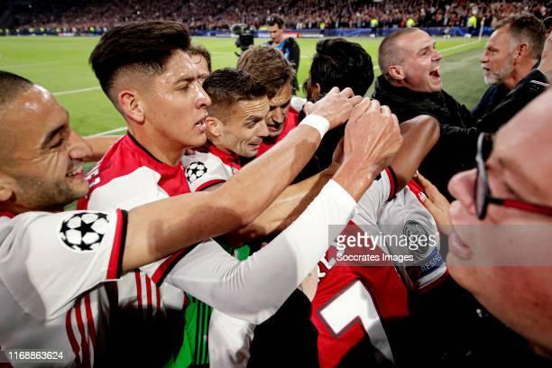 Quincy Promes of Ajax celebrates 1 with Hakim Ziyech of Ajax Edson Alvarez of Ajax Dusan Tadic of Ajax Joel Veltman of Ajax David Neres of Ajax...