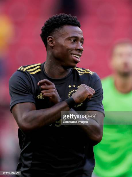 Quincy Promes of Ajax celebrates 1-0 during the Club Friendly match between Hertha BSC v PSV at the Olympiapark Hanns Braun on August 29, 2020 in...