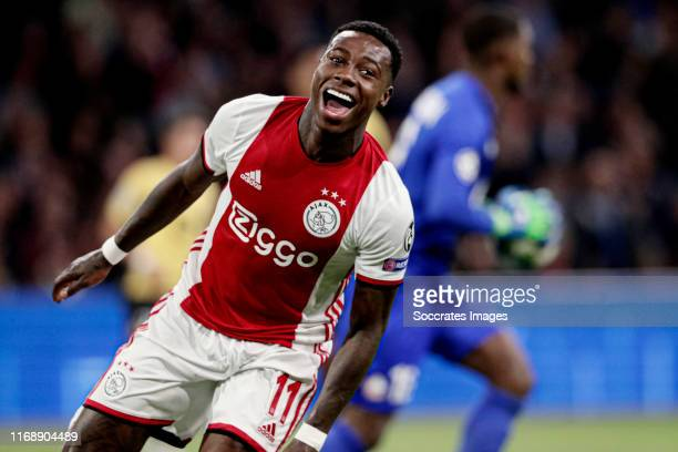 Quincy Promes of Ajax celebrates 1-0 during the UEFA Champions League match between Ajax v Lille at the Johan Cruijff Arena on September 17, 2019 in...
