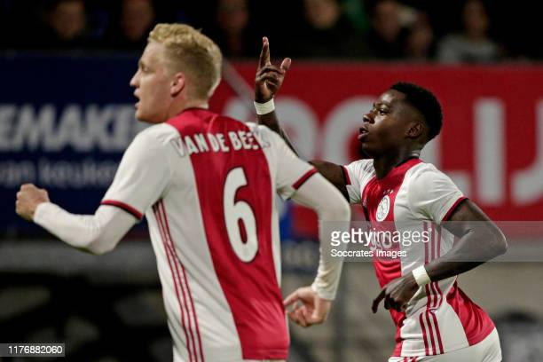 Quincy Promes of Ajax Celebrates 1-2 during the Dutch Eredivisie match between RKC Waalwijk v Ajax at the Mandemakers Stadium on October 19, 2019 in...