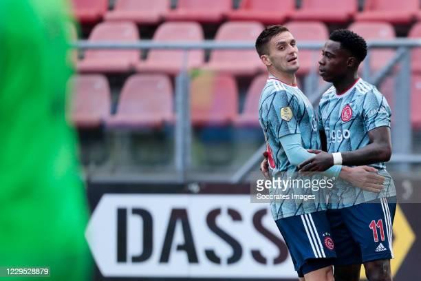 Quincy Promes of Ajax celebrates 3-0 with Dusan Tadic of Ajax during the Dutch Eredivisie match between FC Utrecht v Ajax at the Stadium Galgenwaard...