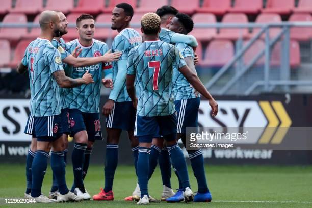 Quincy Promes of Ajax celebrates 3-0 with Dusan Tadic of Ajax, Edson Alvarez of Ajax, David Neres of Ajax, Ryan Gravenberch of Ajax, Sean Klaiber of...