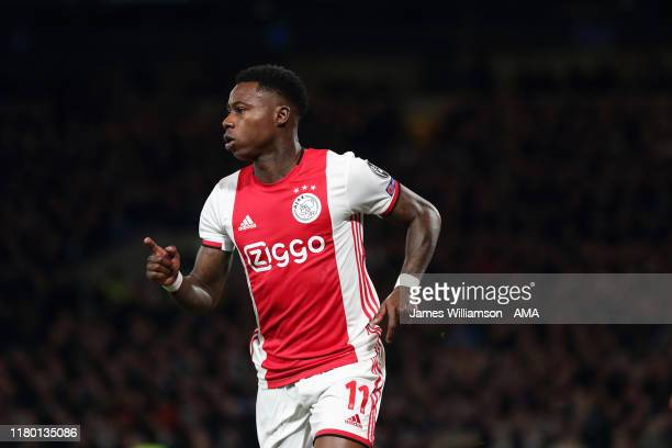 Quincy Promes of Ajax celebrates after scoring a goal to make it 1-2 during the UEFA Champions League group H match between Chelsea FC and AFC Ajax...