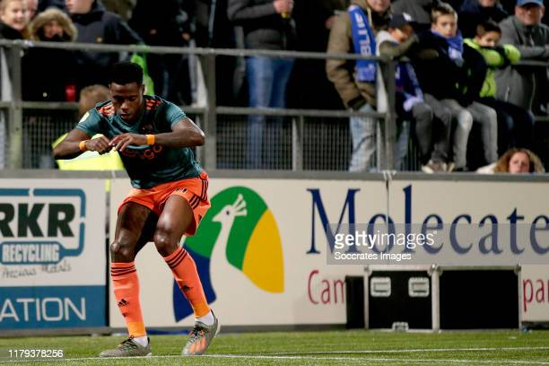 Quincy Promes of Ajax celebrates goal during the Dutch Eredivisie match between PEC Zwolle v Ajax at the MAC3PARK Stadium on November 1, 2019 in...