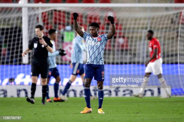 Quincy Promes of Ajax celebrates the victory during the Dutch KNVB Beker match between AZ Alkmaar v Ajax at the AFAS Stadium on January 20, 2021 in...