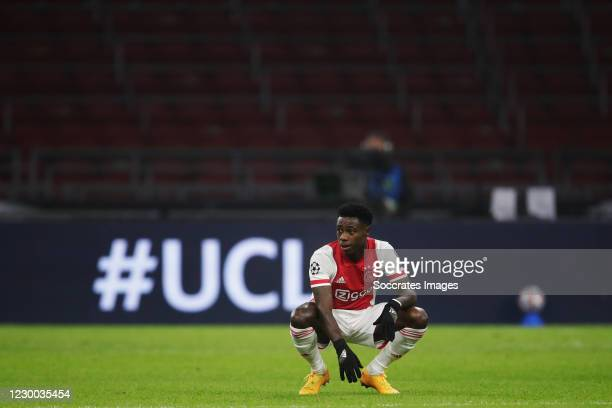 Quincy Promes of Ajax disappointed during the UEFA Champions League match between Ajax v Atalanta Bergamo at the Johan Cruijff Arena on December 9,...