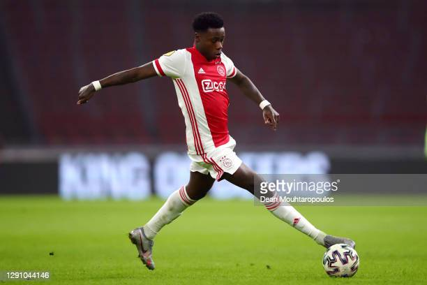 Quincy Promes of Ajax in action during the Dutch Eredivisie match between Ajax and PEC Zwolle at Johan Cruijff Arena on December 12, 2020 in...