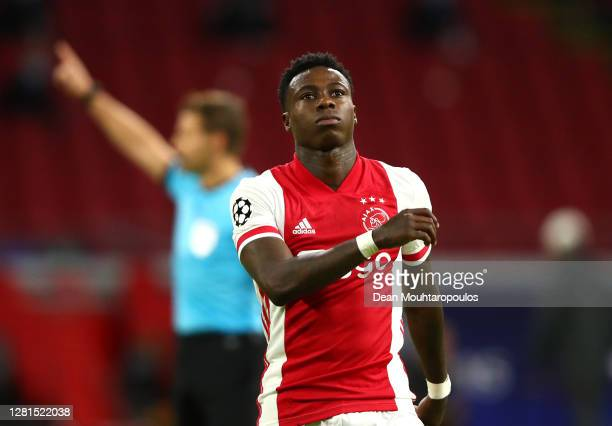 Quincy Promes of Ajax reacts after a missed chance during the UEFA Champions League Group D stage match between Ajax Amsterdam and Liverpool FC at...