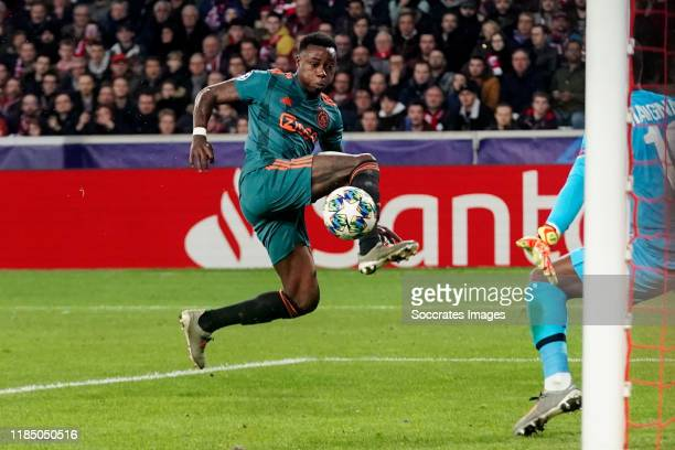 Quincy Promes of Ajax scores the second goal to make it 0-2 during the UEFA Champions League match between Lille v Ajax at the Stade Pierre Mauroy on...