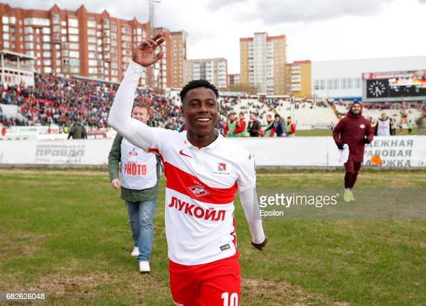 Quincy Promes of FC Spartak Moscow celebrates after their victory over FC Amkar Perm in Russian Premier League match between FC Amkar Perm and FC...