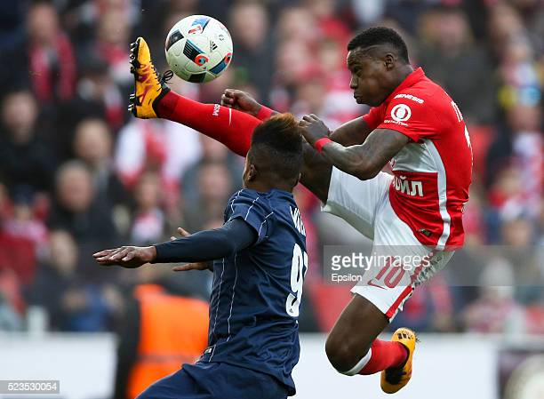 Quincy Promes of FC Spartak Moscow challenged by Thomas Phibel of FC Mordovia Saransk during the Russian Premier League match between FC Spartak...