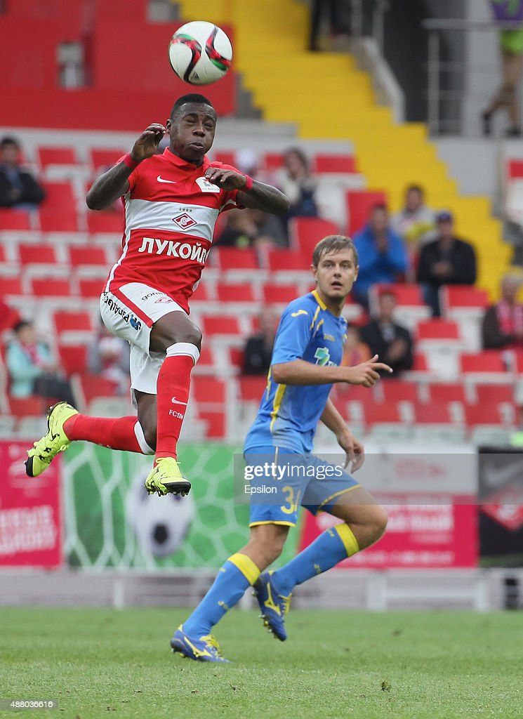 Quincy Promes of FC Spartak Moscow challenged by Timofei Margasov of FC Rostov Rostov-on-Don during the Russian Premier League match between FC Spartak Moscow v FC Rostov Rostov on Don at the Arena Otkritie stadium on September 13, 2015 in Moscow, Russia.