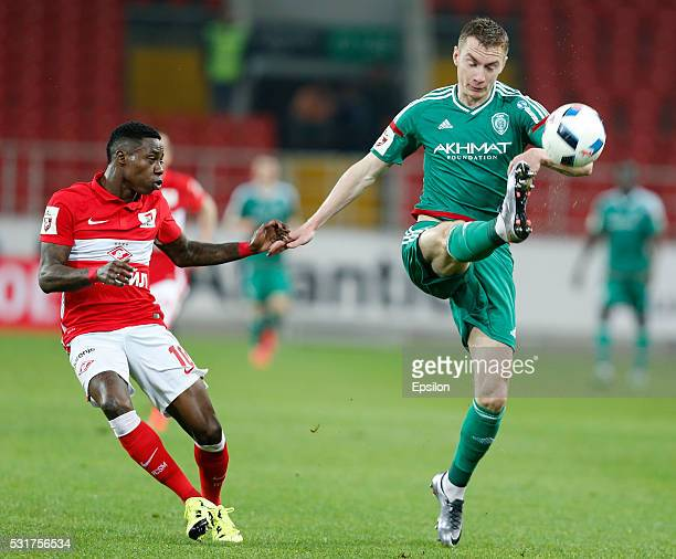 Quincy Promes of FC Spartak Moscow is challenged by Andrei Semyonov of FC Terek Grozny during the Russian Premier League match between FC Spartak...