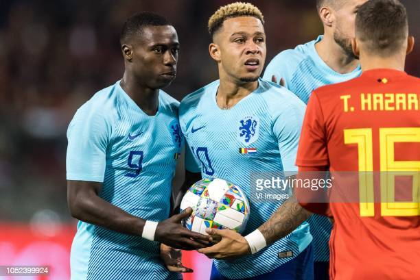 Quincy Promes of Holland and Memphis Depay of Holland at a free kick during the International friendly match between Belgium and The Netherlands at...