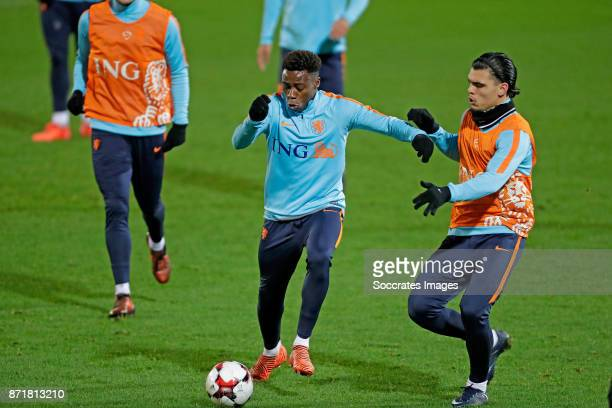 Quincy Promes of Holland Karim Rekik of Holland during the match between Training Holland in Aberdeen at the Pittodrie Stadium on November 8 2017 in...