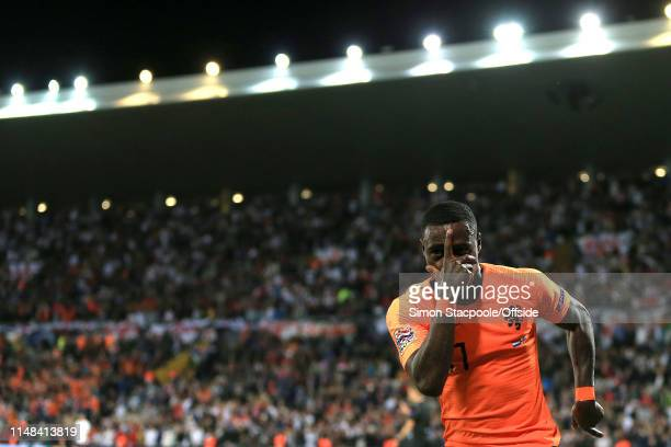 Quincy Promes of Netherlands celebrates their 2nd goal though it is ruled an own goal by Kyle Walker during the UEFA Nations League SemiFinal match...