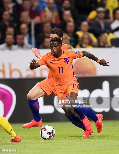 Quincy Promes of Netherlands during the FIFA World Cup Qualifier between Sweden and Netherlands at Friends arena on September 6 2016 in Solna Sweden