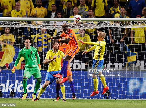 Quincy Promes of Netherlands shoots a header during the FIFA World Cup Qualifier between Sweden and Netherlands at Friends arena on September 6 2016...