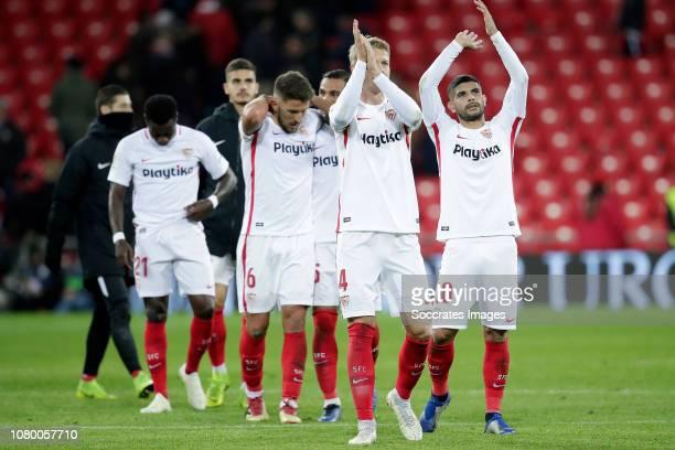 Quincy Promes of Sevilla FC Daniel Carrico of Sevilla FC Gabriel Mercado of Sevilla FC Simon Kjaer of Sevilla FC Ever Banega of Sevilla FC celebrates...