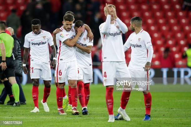 Quincy Promes of Sevilla FC Daniel Carrico of Sevilla FC Gabriel Mercado of Sevilla FC Simon Kjaer of Sevilla FC Ever Banega of Sevilla FC during the...